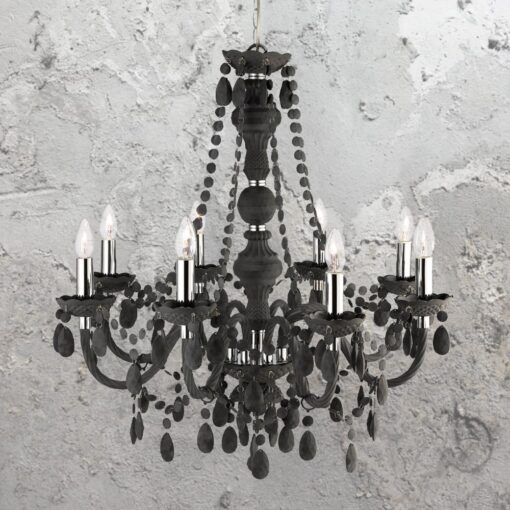 8 Light Black Crystal Chandelier