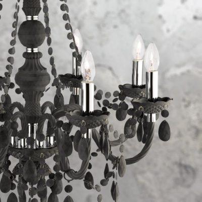 8 Light Black Crystal Drops Chandelier