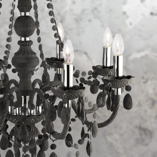 8 Light Black Crystal Drops Chandelier