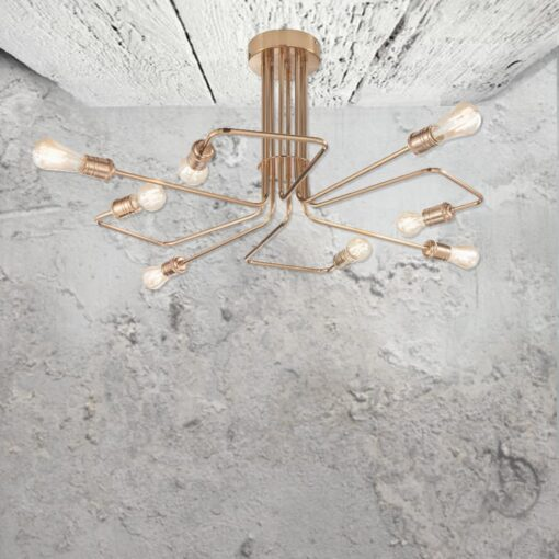 8 Light Brass Flush Chandelier
