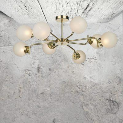 8 Light Polished Brass Opal Flush