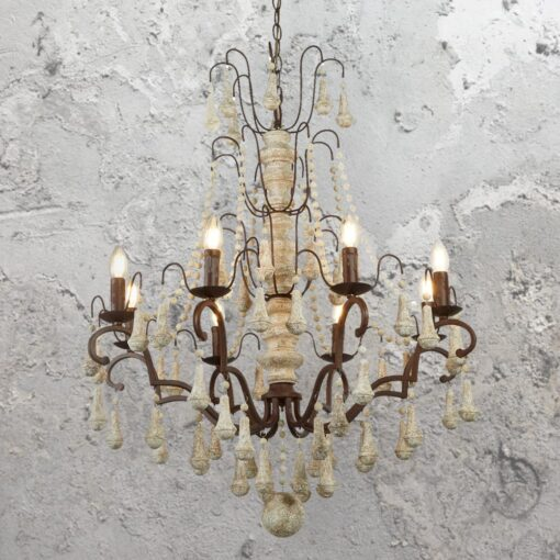 8 Light Rustic Brown Chandelier