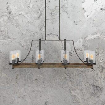 8 Light Rustic Wavy Glass Chandelier