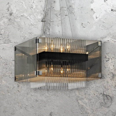 8 Light Smoked Crystal Rods Chandelier