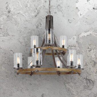 9 Light Rustic Wavy Glass Chandelier