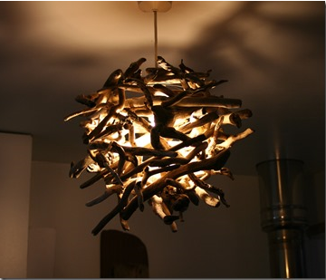 Driftwood nest pendant & UK Driftwood is a Bright Idea for Creating Beautiful Lighting