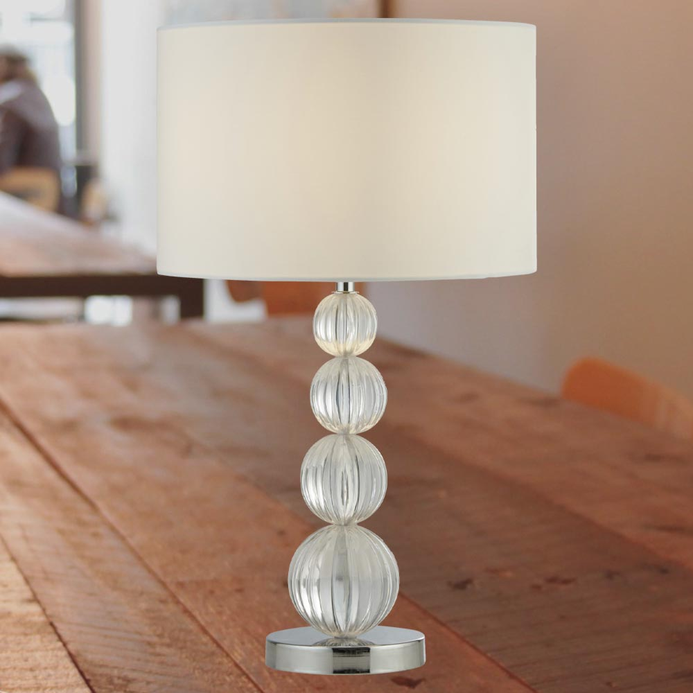 Acrylic Balls Table Lamp With White Shade E2 Contract