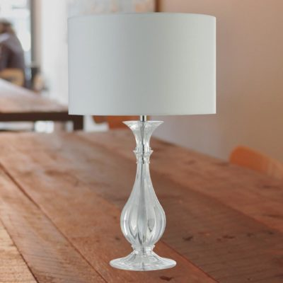 Acrylic Clear Table Lamp with White Shade