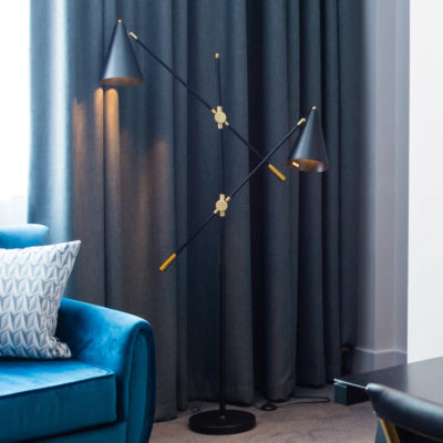 Adjustable Black Twin Floor Lamp