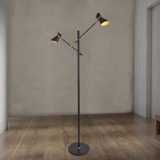 Adjustable Gold Double Floor Lamp