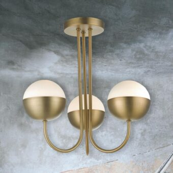 Aged Brass 3 Light Semi Flush