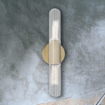 Aged Brass Double Ribbed Tube Wall Light