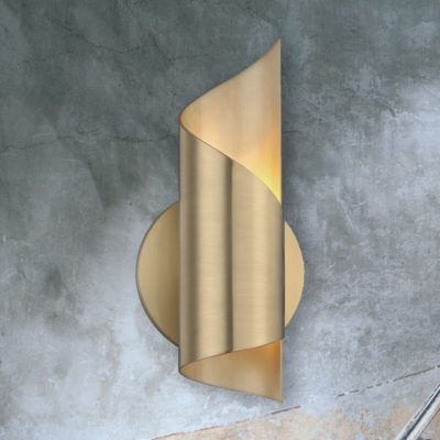 Aged Brass Spiral Wall Light
