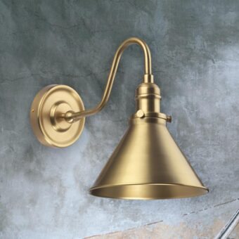 Aged Brass Vintage Swan Neck Wall Light