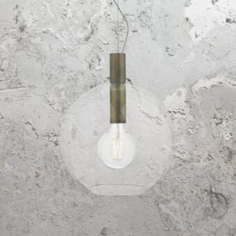 Aged Bronze Clear Glass Pendant Light
