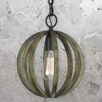 Aged Oak Wood Cage Pendant Light