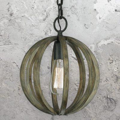 Aged Oak Wood Cage Pendant Light
