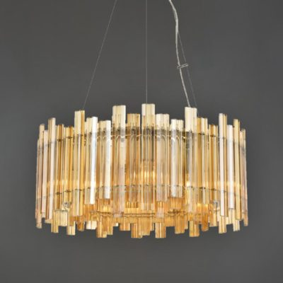Amber Glass Contemporary Glass Chandelier