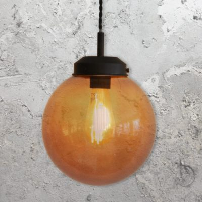 Amber Glass Globe Pendant Light 250mm
