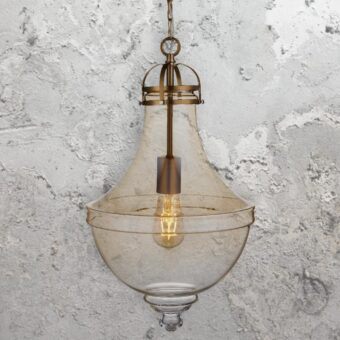 Large Large Amber Glass Pendant Light