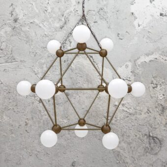 Antique Brass 12 Light Geometric Frame Chandelier