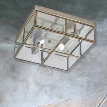 Antique Brass 2 Light Glass Flush
