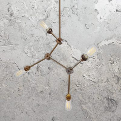 Antique Brass 4 Light Industrial Rod Chandelier