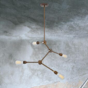 Antique Brass 4 Light Industrial Rod Semi Flush