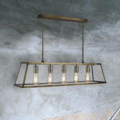 Antique Brass 5 Light Glass Box Pendant