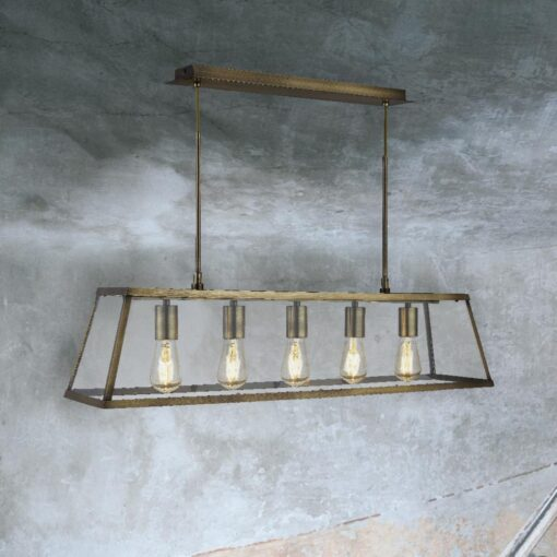 Antique Brass 5 Light Glass Box Pendant
