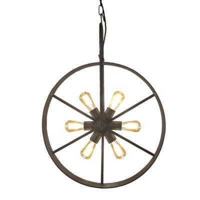 Antique Brass 6 Light Bicycle Wheel Pendant