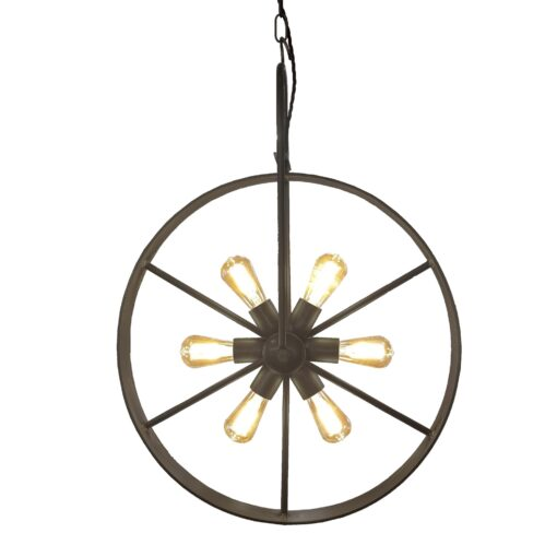 Antique Brass 6 Light Bicycle Wheel Pendant