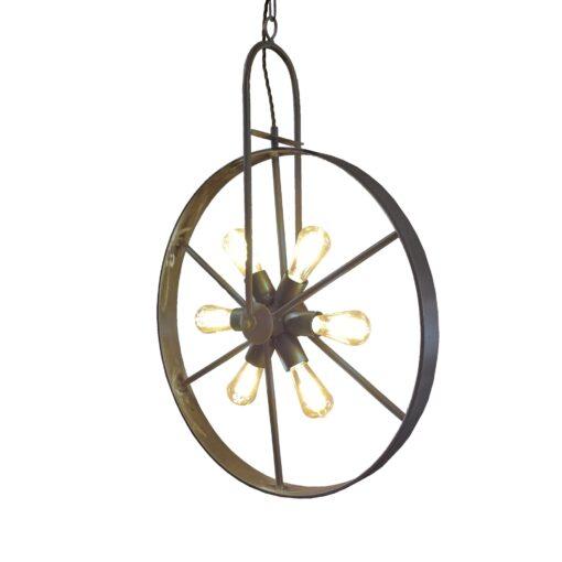 Antique Brass 6 Light Wheel Pendant