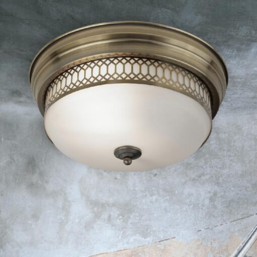 Antique Brass Bathroom Flush Light