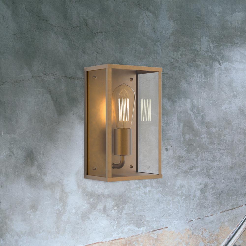 Antique Brass Box Wall Light Cl 36040 E2 Contract Lighting Uk