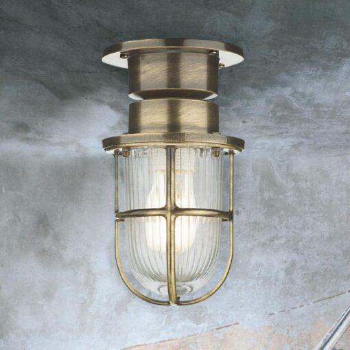 Antique Brass Bulkhead Ceiling Light