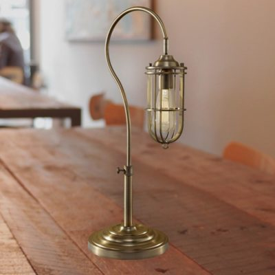 Antique Brass Cage Table Lamp