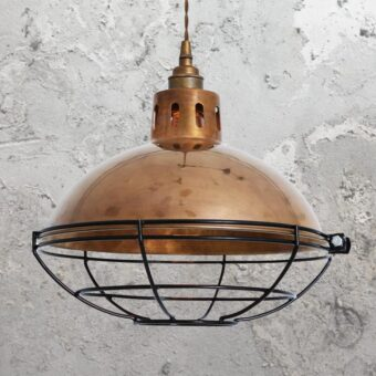 Antique Brass Cage Vintage Dome Pendant Light