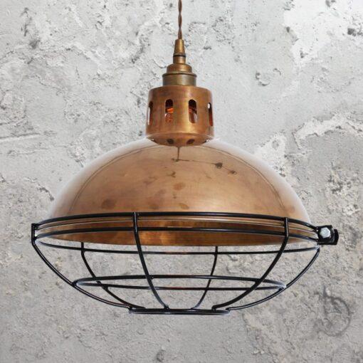 Antique Brass Cage Vintage Dome Pendant Light