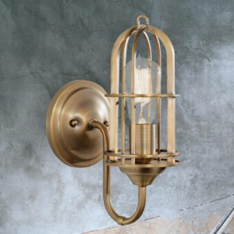 Antique Brass Cage Wall Light