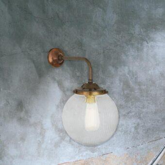Antique Brass Clear Glass Globe Wall Light