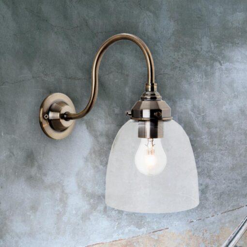 Antique Brass Clear Glass Wall Light