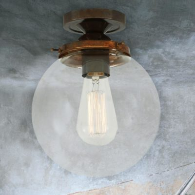 Antique Brass Clear Globe Flush Light 200mm