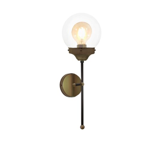 Antique Brass Clear Globe Wall Light