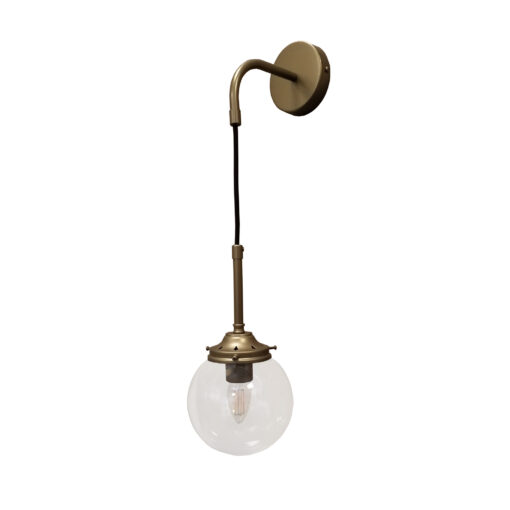 Antique Brass Clear Hanging Globe Wall Light