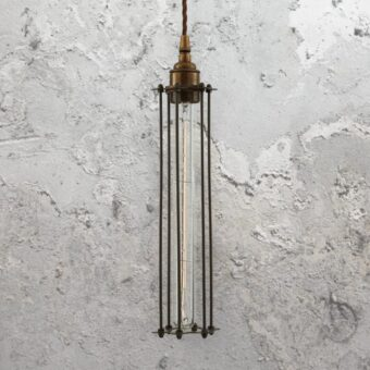 Antique Brass Elongated Cage Pendant Light