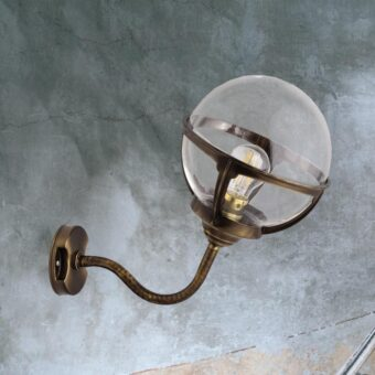 Antique Brass Exterior Globe Sconce Lantern