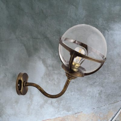 Antique Brass Exterior Globe Sconce Lantern
