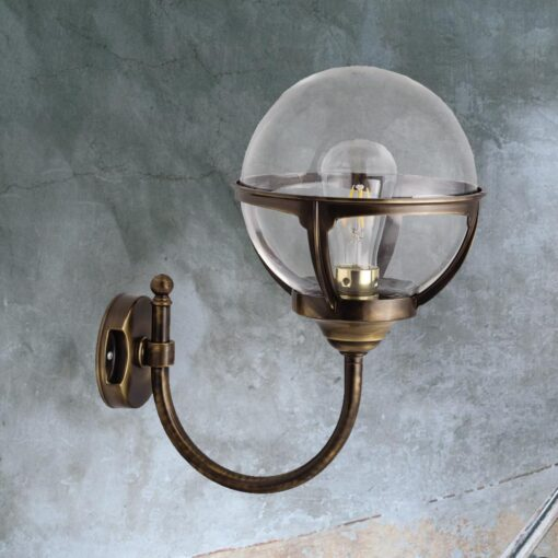 Antique Brass Exterior Globe Wall Lantern