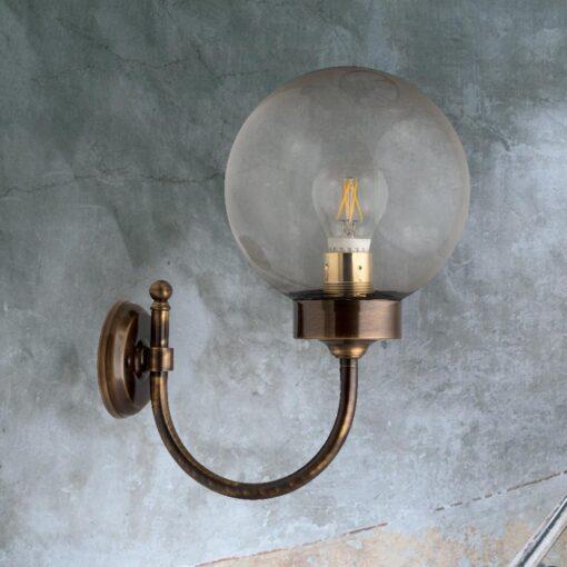 Antique Brass Exterior Smoked Globe Wall Light